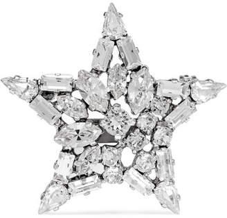 Saint Laurent Silver-tone Crystal Brooch