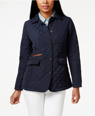 Jones New York Packable Faux-Leather-Trim Quilted Barn Jacket $150 thestylecure.com