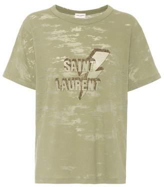 Saint Laurent Printed dévoré jersey T-shirt