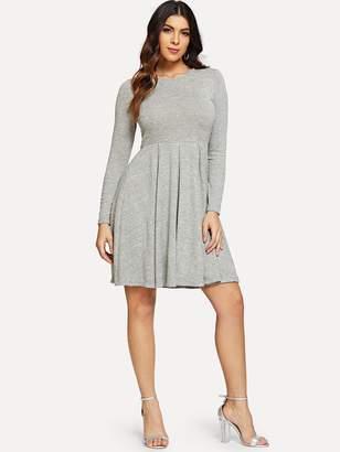 7e80cdee5a06 Shein Long Sleeve Pleated Solid Dress