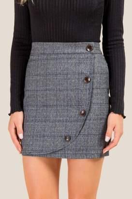 francesca's Tory Wrap Plaid Mini Skirt - Gray