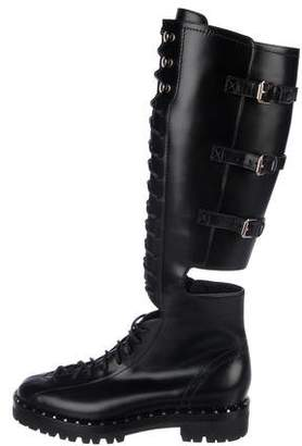 Valentino Rockstud-Accented Leather Boots