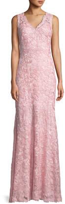 Tadashi Shoji V-Neck Sleeveless Lace Applique Dress