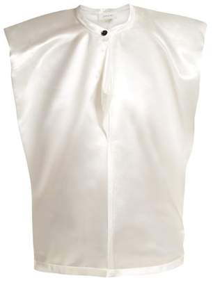 Lemaire Round Neck Satin Top - Womens - White