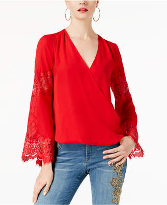 INC International Concepts I.N.C. Lace Surplice Top, Created for Macy's