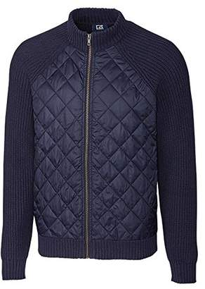Cutter & Buck Men's Walter Full Zip Quilted Front Sweater Jacket with Pockets