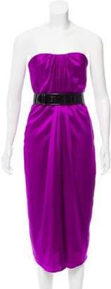 Alexander McQueen Strapless Silk Dress