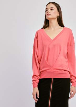 Emporio Armani V-Neck Sweater With Draped Front