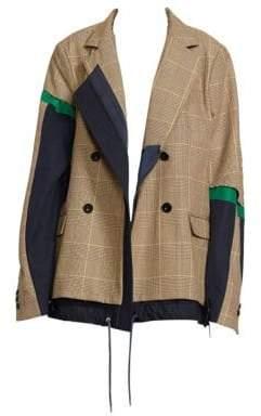 Sacai Women's Glen Check Drawstring-Hem Jacket - Beige Orange Check - Size 1 (XS)