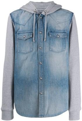 Balmain hooded material mix denim shirt