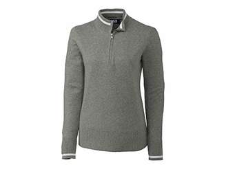 Cutter & Buck Women's Soft Cotton Lakemont Tipped Half Zip Pullover Sweater