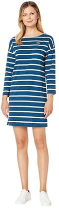 Lacoste Long Sleeve Boat Neck Striped Heavy Rib Mariniere Dress