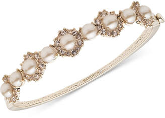 Marchesa Gold-Tone Imitation Pearl & Crystal Bangle Bracelet
