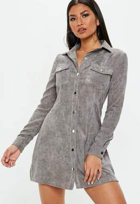 Missguided Grey Corduroy Skater Shirt Dress