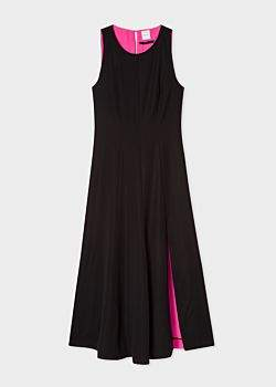 Paul Smith Women's Black Sleeveless Silk-Blend Maxi Dress With Front Split