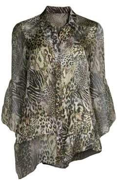 Elie Tahari Layla Safari Animal Print Silk Blouse