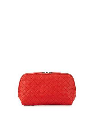 Bottega Veneta Medium Woven Lambskin Cosmetics Bag, Red $500 thestylecure.com