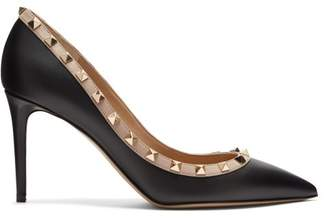 Valentino Rockstud Point Toe Leather Pumps - Womens - Black