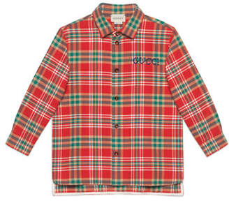 Gucci Plaid Button Up Shirt w/ Logo Embroidery, Size 4-12