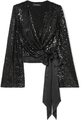 Jenny Packham Marla Satin-trimmed Sequined Silk-chiffon Wrap Top - Black