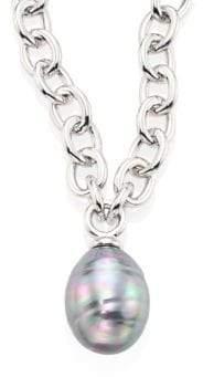 Majorica 14MM Grey Baroque Pearl Pendant Necklace