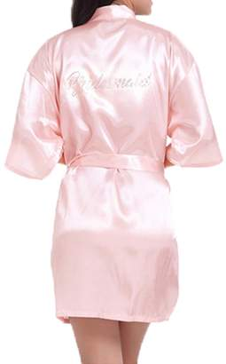 WPFING Bride Robes White Lace Bridesmaid Robes Bridal Party Robes Rhinestone Satin