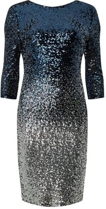 Womens **Teal Ombre Sequin Embellished Bodycon Dress