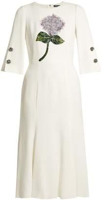 Dolce & Gabbana Sequin-embellished flower-appliqué cady dress