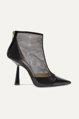 Jimmy Choo Kix 100 Fishnet And Patent-leather Ankle Boots - Black