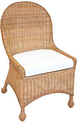 One Kings Lane Eastern Shore Wicker Side Chair - Chestnut