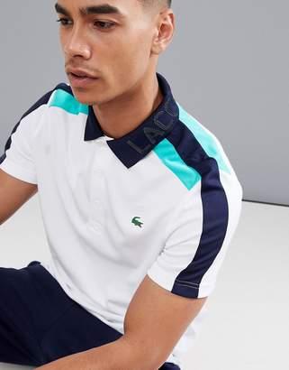 Lacoste Sport logo collar polo in white