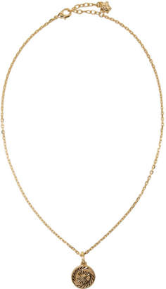 Versace Gold Small Circular Medusa Pendant Necklace