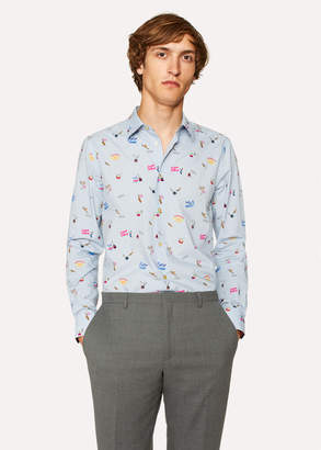 Paul Smith Men's Slim-Fit Sky Blue 'Soho' Print Shirt With 'Artist Stripe' Cuff Lining