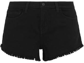 L'Agence Zoe Frayed Denim Shorts - Black