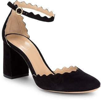 Chloé Women's Scalloped Leather Ankle-Strap Pumps