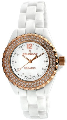 Peugeot Women's Ceramic Swarovski Crystal WhiteDial Watch