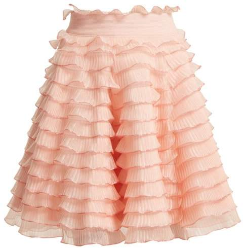 High-rise ruffled-detailed tiered skirt