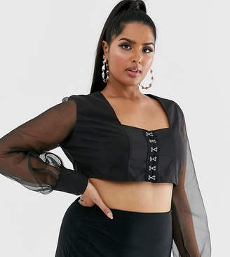 980a79c8a42 Black Sheer Crop Top - ShopStyle UK