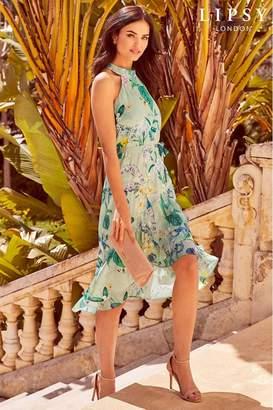 6b529b90f3 Lipsy Gracie Print Halter Tie Frill Midi Dress - 10 - Green
