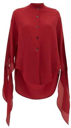 Petar Petrov Begoa Slit Sleeve Silk Chiffon Blouse - Womens - Burgundy