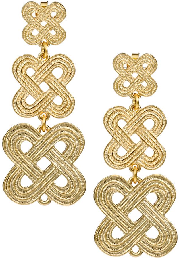 Janna Conner Designs Gold Crisscross Drop Earrings