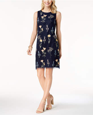 Jessica Howard Floral Embroidered Mesh Shift Dress