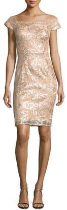 Jovani Off-the-Shoulder Embellished Lace Cocktail Dress, Champagne $470 thestylecure.com