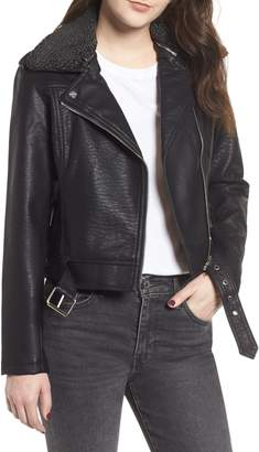 Obey Joey Faux Shearling Collar Faux Leather Moto Jacket
