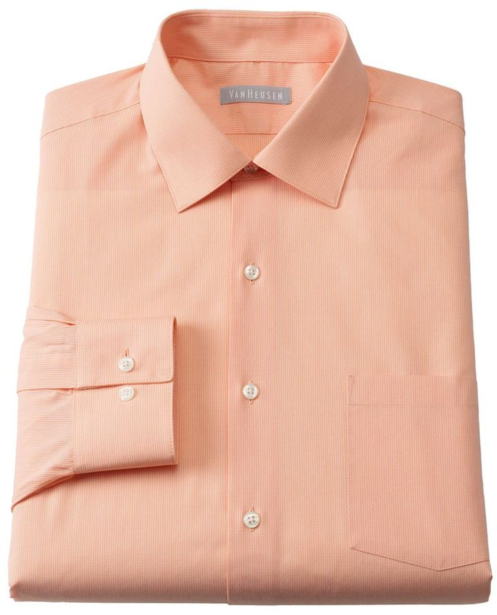 Van Heusen fitted micro-striped spread collar dress shirt