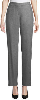 Lafayette 148 New York Fulton High-Waist Straight-Leg Italian Flannel Pants