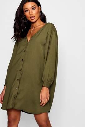 boohoo V Neck Off Shoulder Shirt Dress