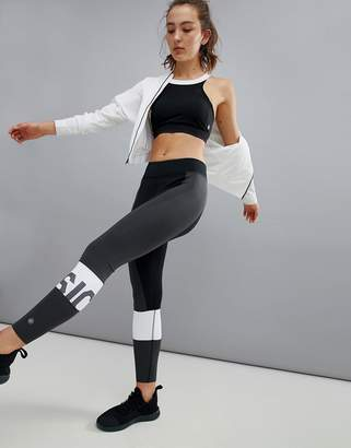 Asics Training Color Block Legging In Black And White