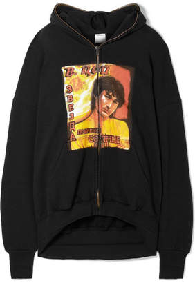 Vetements Idol Oversized Cutout Printed Cotton-jersey Hoodie - Black