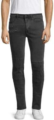 Exposed Stitch Paneled Zipped Skinny Jeans